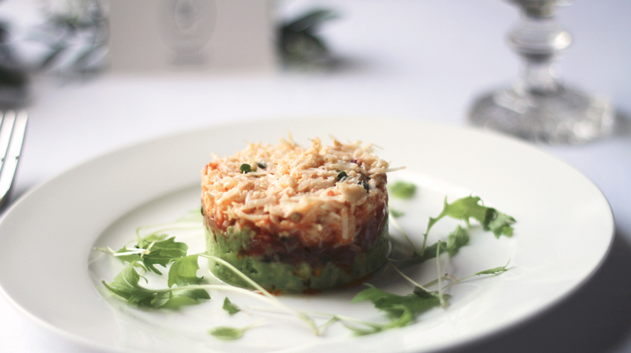 Crab and avocado tian with spiced tomato