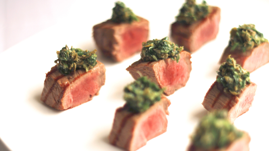 Grilled fillet of beef with salsa verde