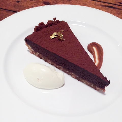 Chocolate, peanut and salted caramel tart