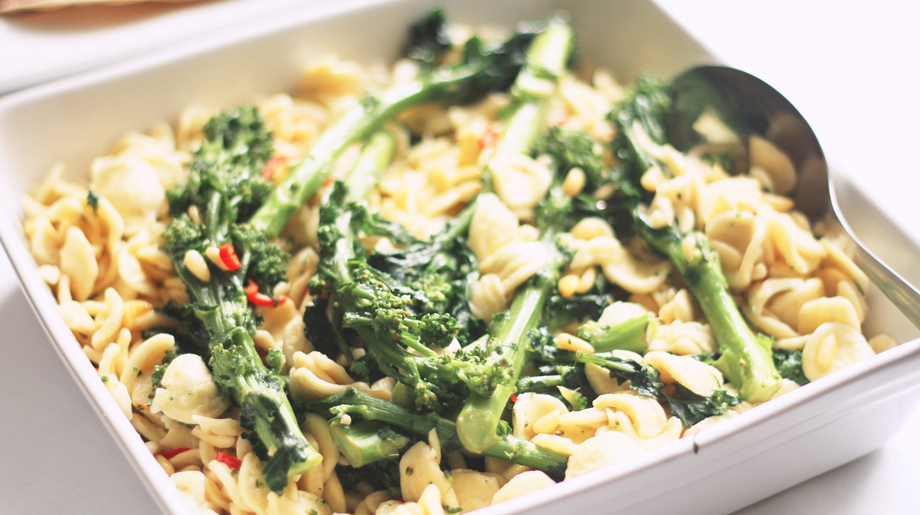 Orecchiette with tender-stem broccoli, pine nuts, chill and lemon