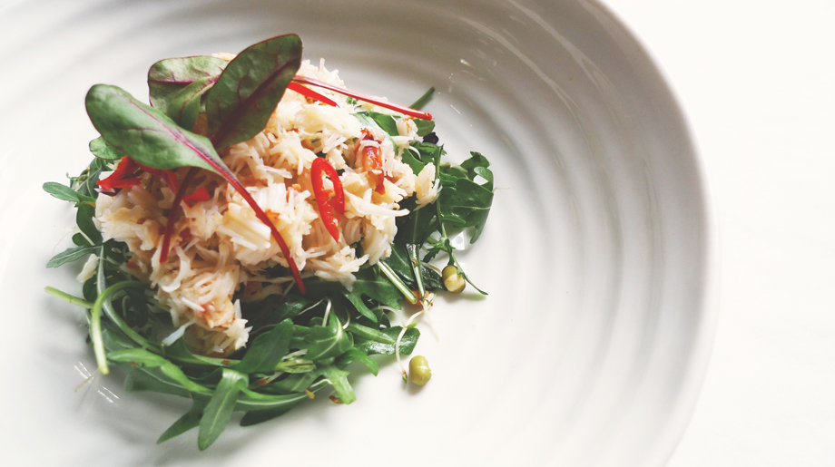 Crab with rocket and sprout salad and nam jim dressing